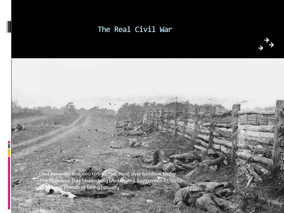 The Real Civil War Cost between 600,000 to 630,000 dead, over 6 million today. The Bloodiest Day Sharpsburg [Antietam] September 17, 1862.